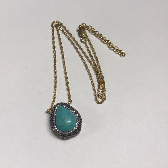 Made in Turkey Gold & Turquoise Pendant Necklace